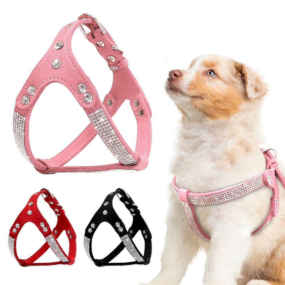 Harnais pour chien en daim souple harnais pour chien strass Mascotas Cachorro harnais pour petit chien moyen Chihuahua rose
