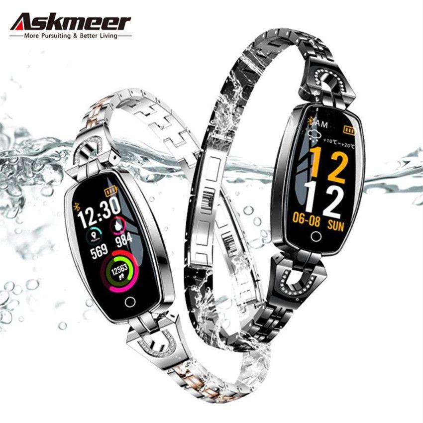 ASKMEER H8 Fitness Bracelet Women Waterproof Smart Watch Blood Pressure Monitor Smartband Health Bracelet Sports smart Band Lady