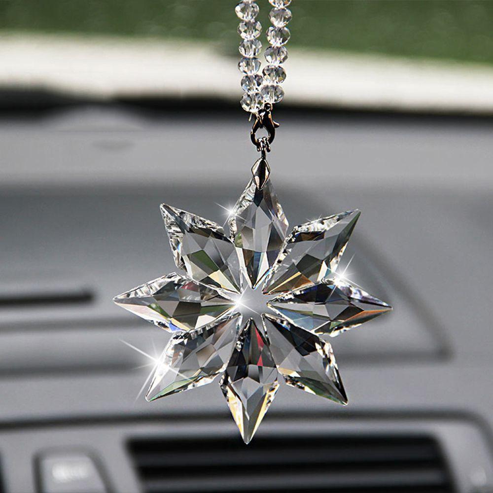 Car Pendant Transparent Crystal Snowflakes Decoration Suspension Ornaments Sun Catcher Snowflake Hanging Trim Christmas Gifts