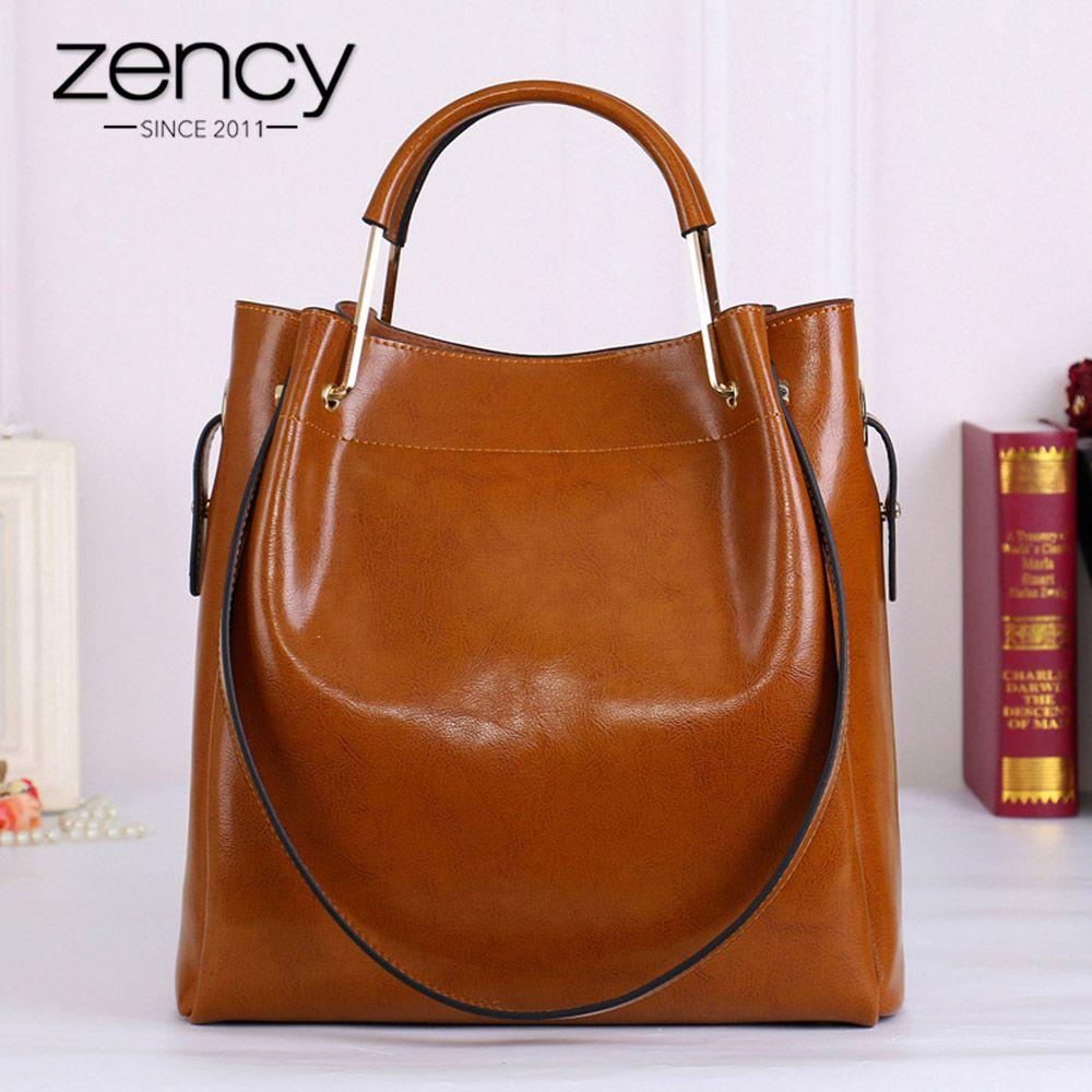 Zency mode marron 100% en cuir véritable femmes sac à main Simple voyage sac fourre-tout grande capacité dame sacs à bandoulière sac à main