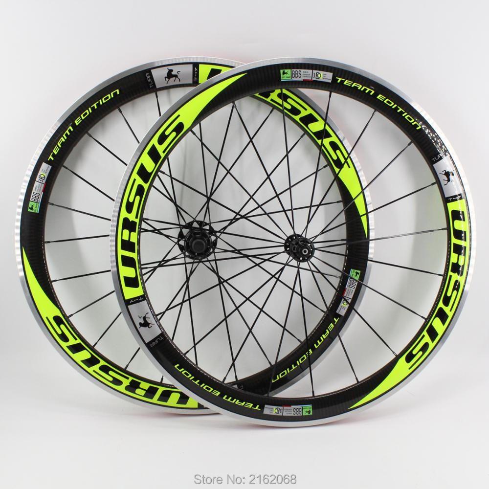 Marke Neue grüne farbe 700C Racing rennrad 50mm klammer felgen fahrrad 3 karat carbon laufradsatz mit legierung brems oberfläche Kostenloser versand