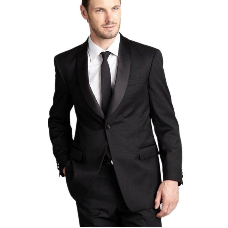 2018 New Arrival Custom Made Men's Black Groom Tuxedos Business Best Man Slim Fit Formal Wedding Suit