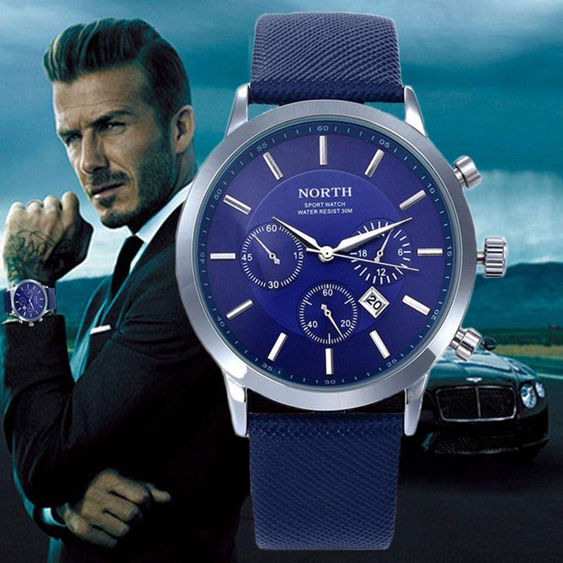 2017 Mens Watches NORTH Brand Luxury Casual <font><b>Military</b></font> Quartz Sports Wristwatch Leather Strap Male Clock watch relogio masculino