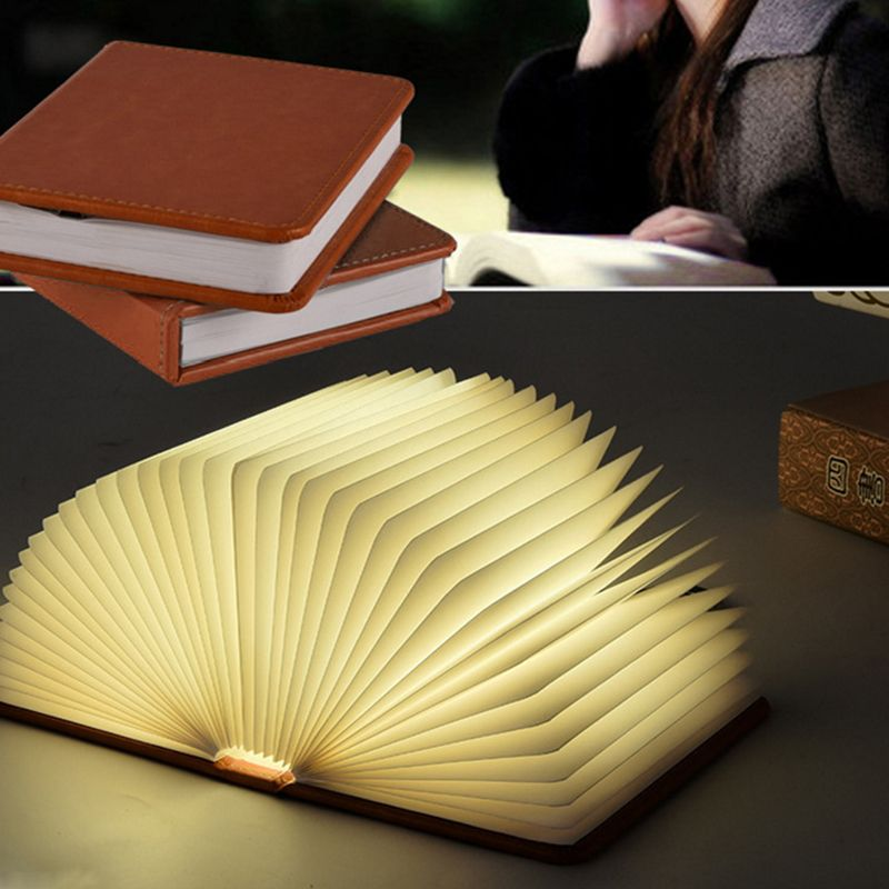 oobest 5 Colors Wood Turning Books Nightlight USB Rechargeable LED Folding Lamp Book Creative Fashion Gift Led Livre lampe