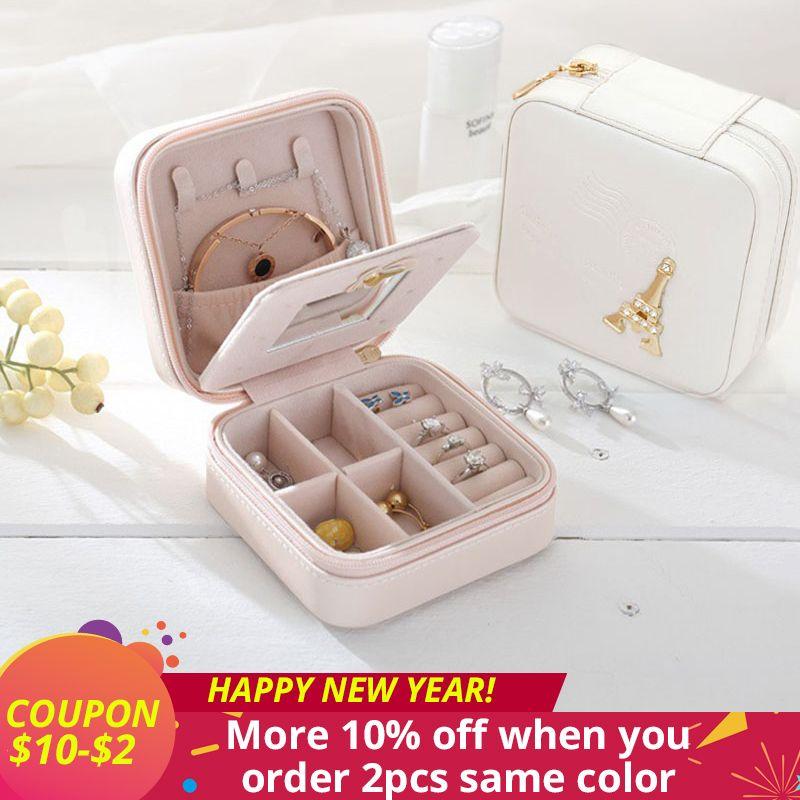 Valentine cadeau bijoux organisateur boîte cosmétique maquillage organisateur Voyage bijoux emballage boîte boucles d'oreilles de stockage bijoux cercueil cas