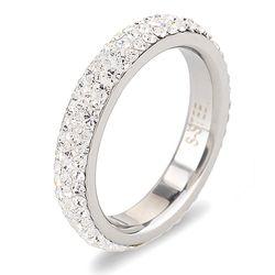 Tamaño completo cristalino tres filas anillos de boda de acero inoxidable joyería de moda hecha con auténticos cristales CZ