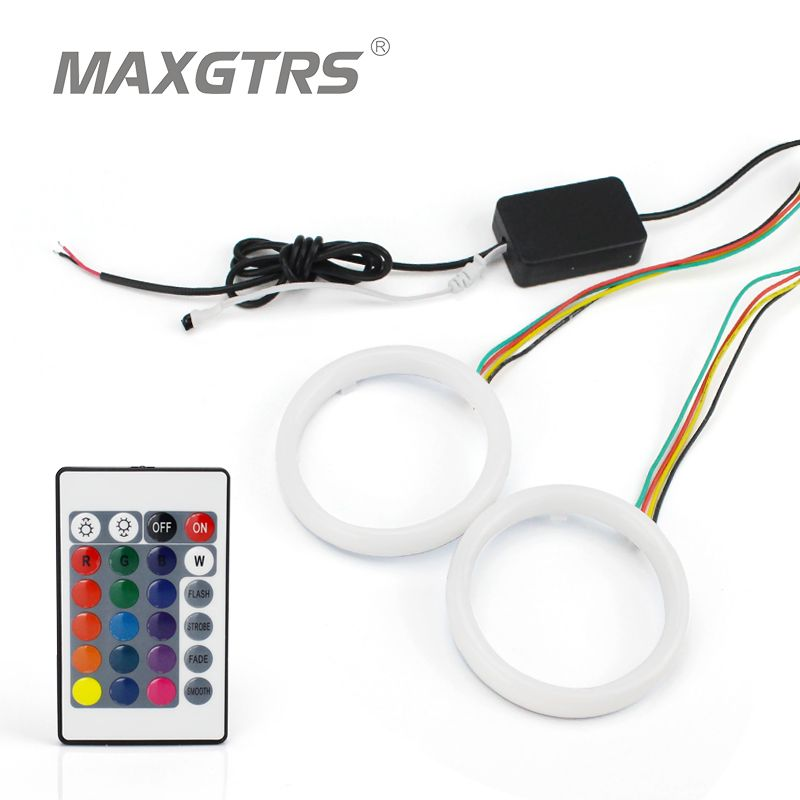 2x 60/70/80/90/95/100/110/120mm Car Angel Eyes Cotton Light Halo Ring Kit Motorcycle Auto LED DRL Headlight With Remote control