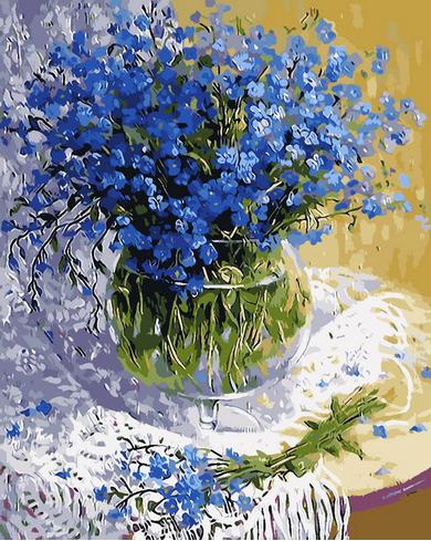 Bleu fleur vase Sans Cadre toile peinture par numéros peinture diy image peinture à l'huile sur toile pour la décoration intérieure