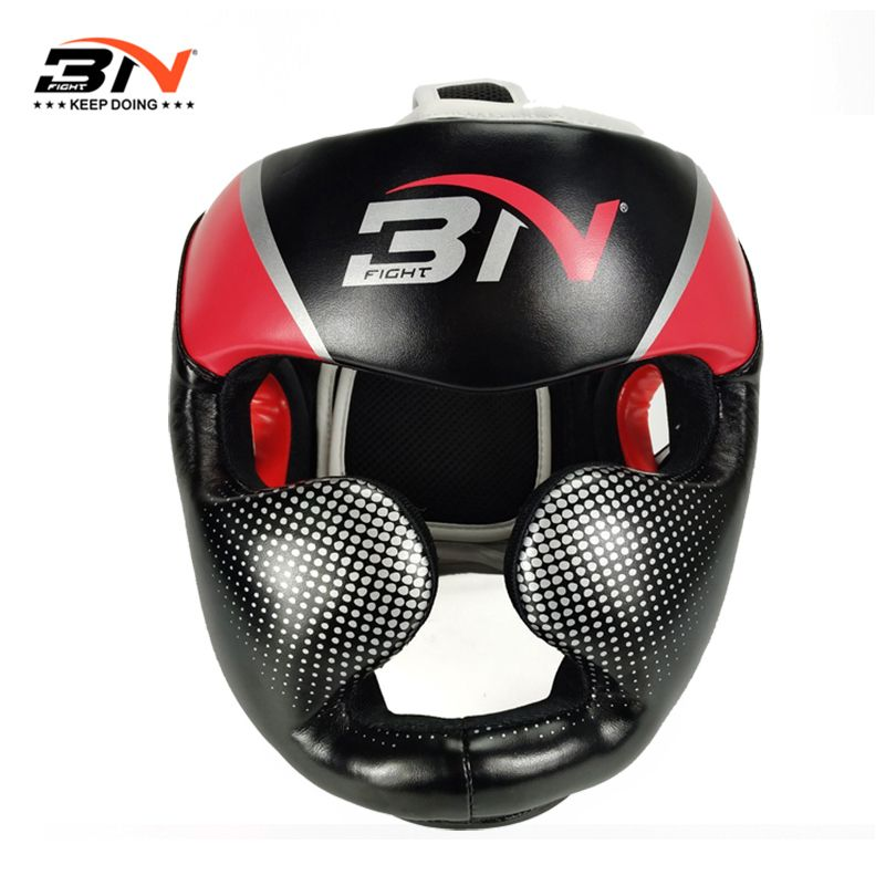 BN Full-Covered Boxing Helmet Muay Thai PU Leather Training Sparring Boxing Headgear Gym Equipment Safe Taekwondo Head Guard