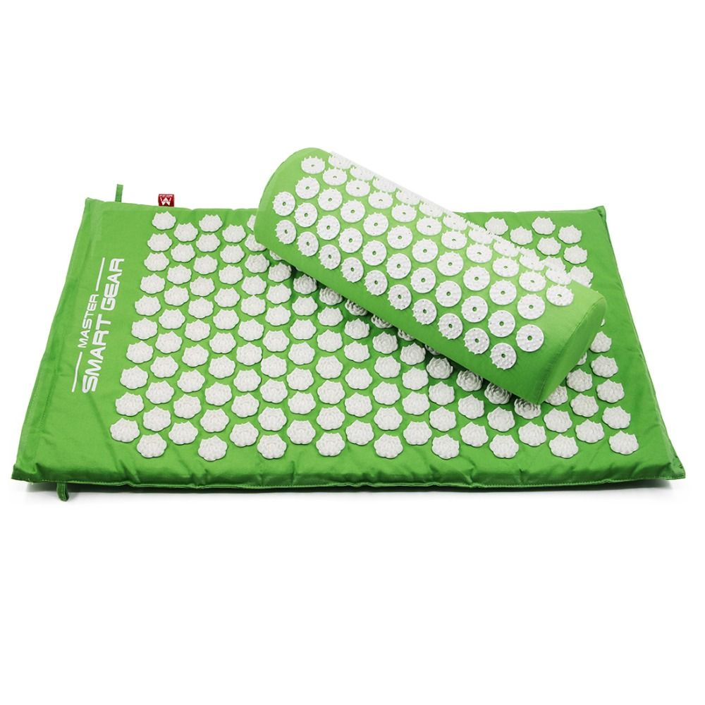 Yoga Lotus Spike Acupressure Mat Pillow Set Back Body <font><b>Massager</b></font> Acupuncture Cushion Mat Relieve Stress Tension Pain w/ Carry Bag