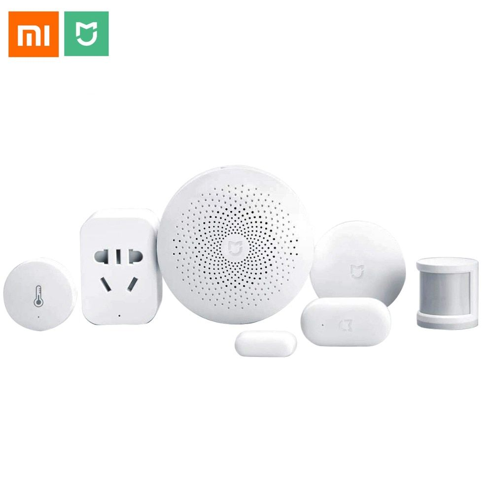 Xiaomi Smart Home Automation Mijia 6 in 1 Kit LED Gateway 2 WiFi Switch Zigbee Sensor Socket domotica interruptor domotique