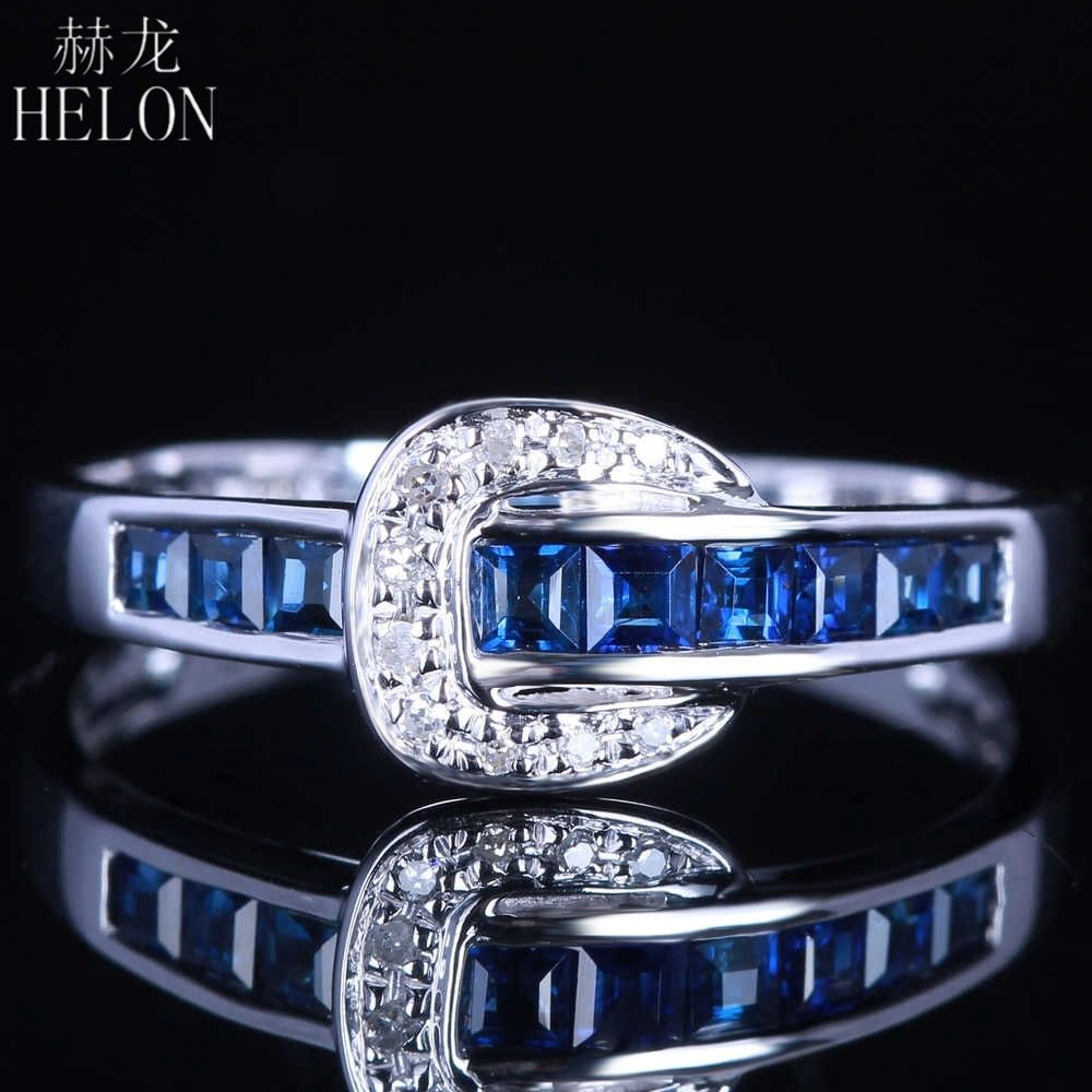 HELON Solid 14k White Gold Real Natural Diamonds & Sapphires Engagement Wedding Band Ring Elegant Women's Jewelry Fine Ring