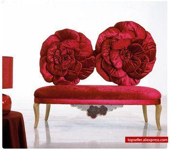 La russie style tissu canapé rouge rose canapé salon ensemble de meubles