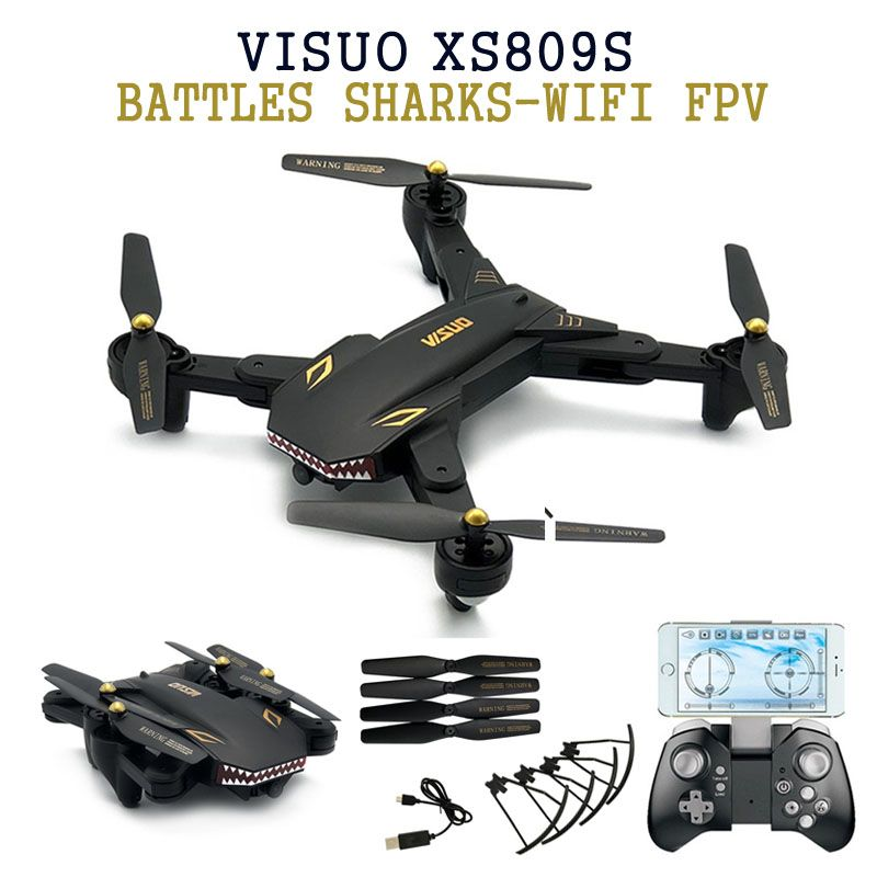 Eachine VISUO XS809S BATTLES SHARKS 720P WIFI FPV With Wide <font><b>Angle</b></font> HD Camera Foldable RC Quadcopter RTF RC Helicopter Toys