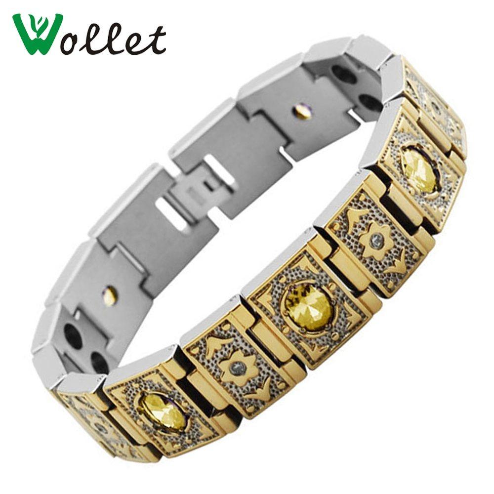 Wollet bijoux or tungstène titane Bracelet pour femmes hommes Germanium infrarouge négatif Ion aimant Tourmaline