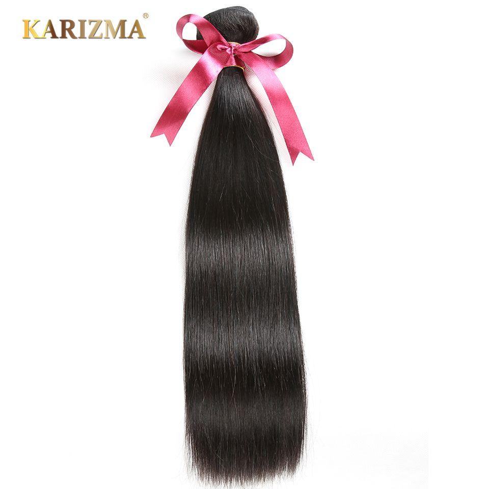 Karizma Brésiliens Faisceaux de Cheveux Raides 100% de Cheveux Humains Weave Natural Black Extension de Cheveux Peuvent Être Teints Et Blanchis Non Remy 1 pc