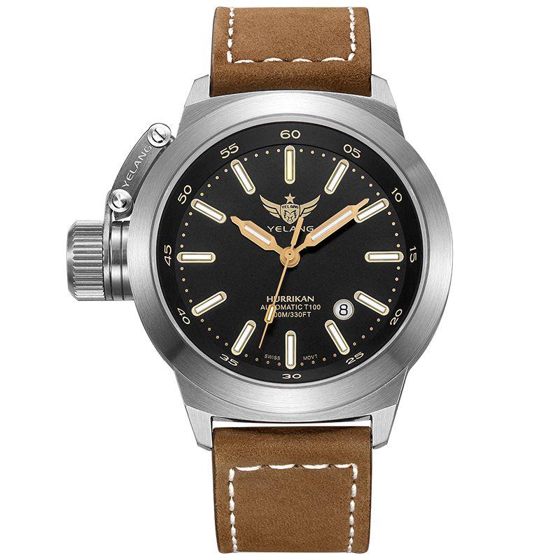 YELANG V1022 T100 Tritium Luminous Army Military Mens Automatic Mechanical Wrist Watch With ETA 2824-2 Automatic Movement - Khak