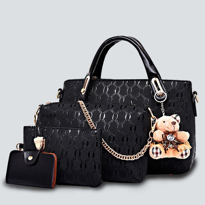 Emboss plaid bag set 4pcs luxury Women handbags Composite/Shoulder Bags 2017 PU leather Vintage Totes Bear Designer chains Bolsa