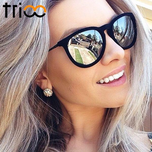 TRIOO femmes lunettes de soleil polarisées miroir marque Designer miroir Oculos UV400 mode lunettes de soleil pour femmes noir Simple nuances