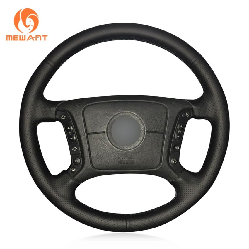 MEWANT Black Artificial Leather Car Steering Wheel Cover for BMW E46 318i 325i E39 E53 X5
