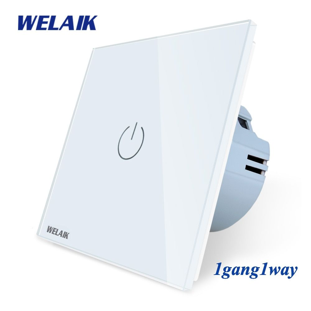 WELAIK Manufacture EU 1gang1way Wall Touch-Switch Crystal-Glass Panel-Switch Wall-Intelligent-Switch Light-Smart-Switch A1911CW
