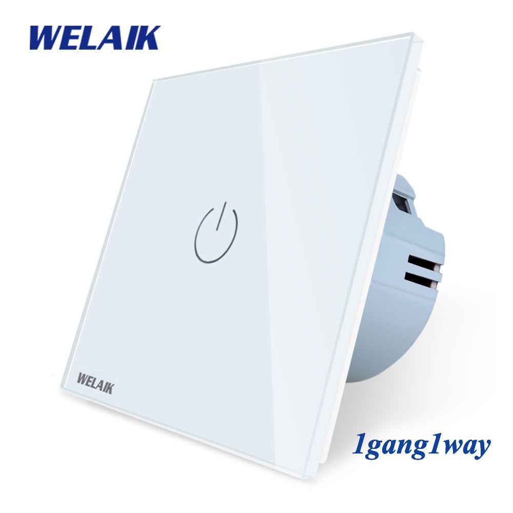 WELAIK Manufacture EU 1gang1way interrupteur tactile mural cristal-panneau en verre-interrupteur mural-Intelligent-interrupteur lumineux-Smart-interrupteur A1911CW