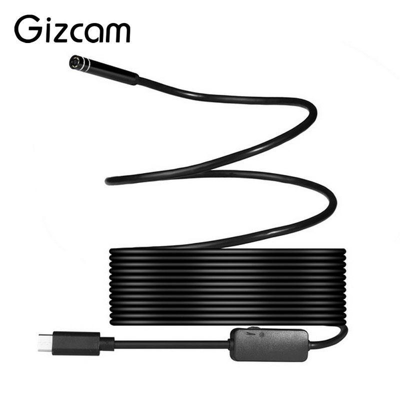 Gizcam 8mm 2MP 8LED 1/3/5/7m USB Type C Professional Waterproof Endoscope Borescope <font><b>Inspection</b></font> Tube Video Camera Mini Camcorders