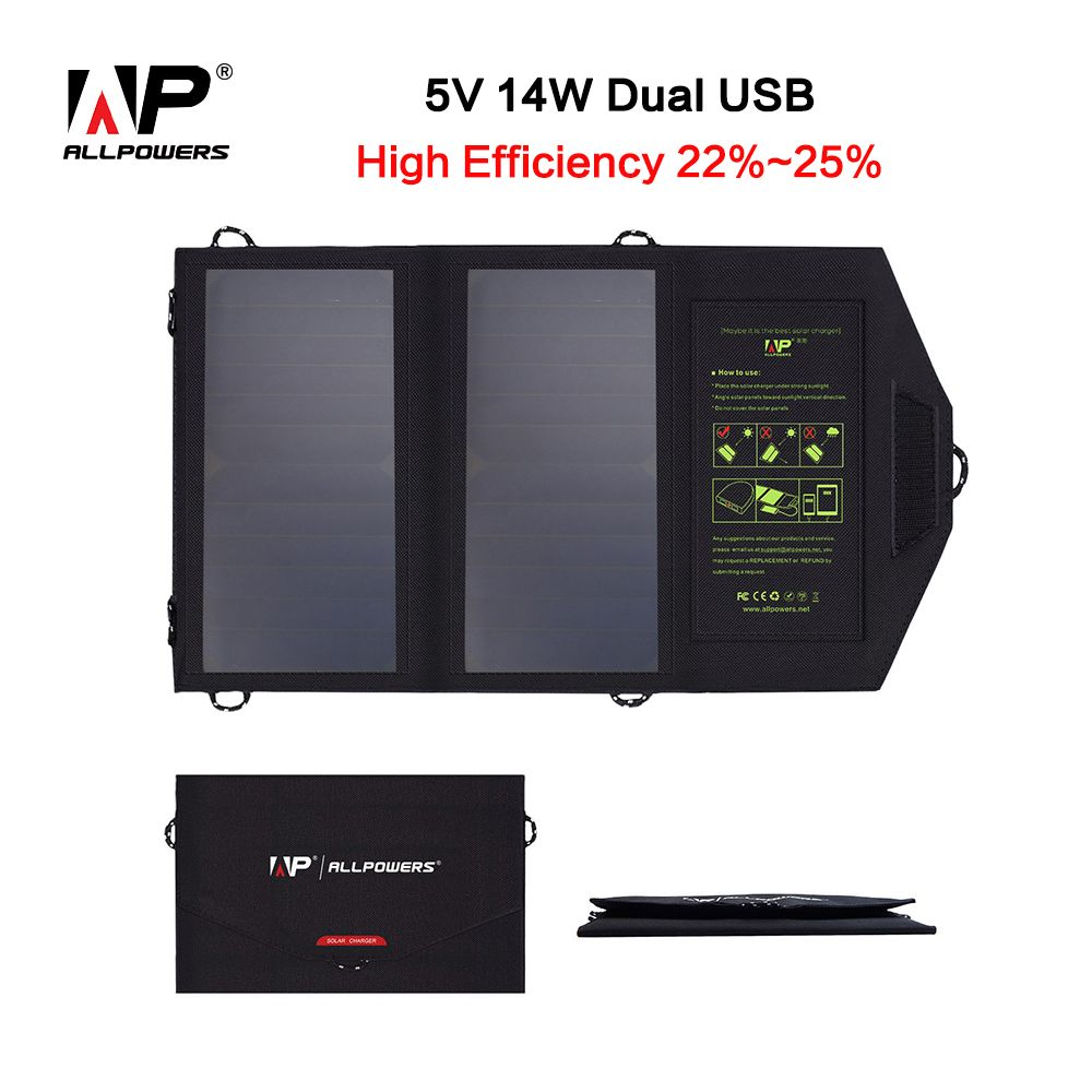 ALLPOWERS Portable Solar Panel Solar Cell Charger 5V 14W High Efficiency Portable Solar Panel Charger for Mobile Phones.