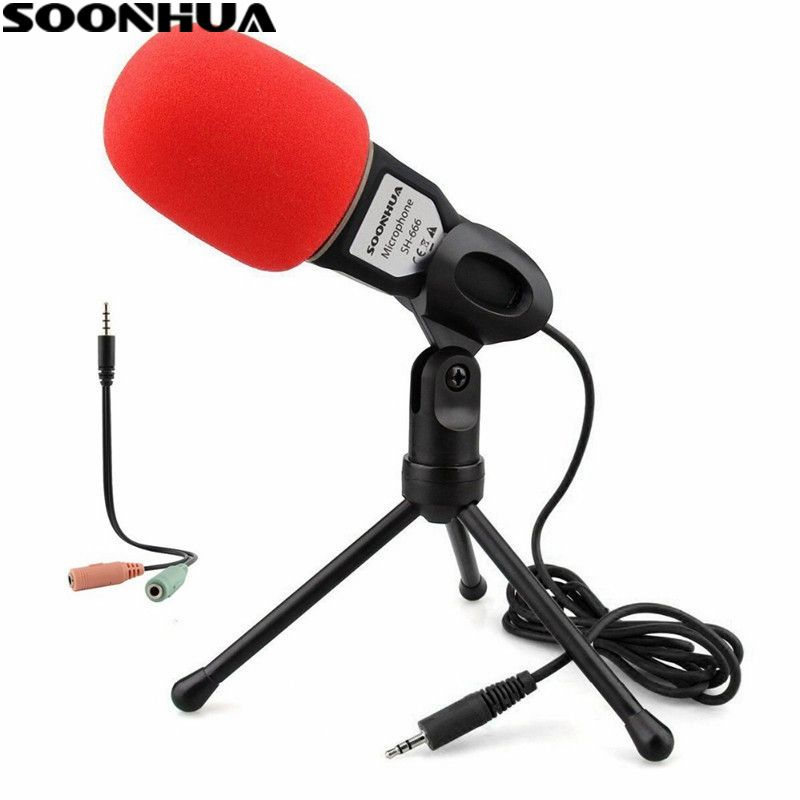 SOONHUA Condenser Sound Podcast Studio Microphone 3.5mm Jack Professional Wired Mic For PC Laptop Skype MSN Microphone