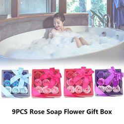 9 pcs Jour de Valentine Rose Savon Romantique De Noël Cadeau Cadeau Boîte pour le Mariage Savon De Bain De Mode Pétale de Fleur Parfumée nouveau