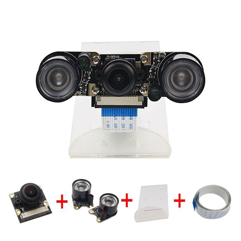 Малина Pi Камера RPI Fisheye Широкий формат Ночь Версия Камера + акриловый держатель + ИК-свет + ffc-кабель для Raspberry PI 2/3