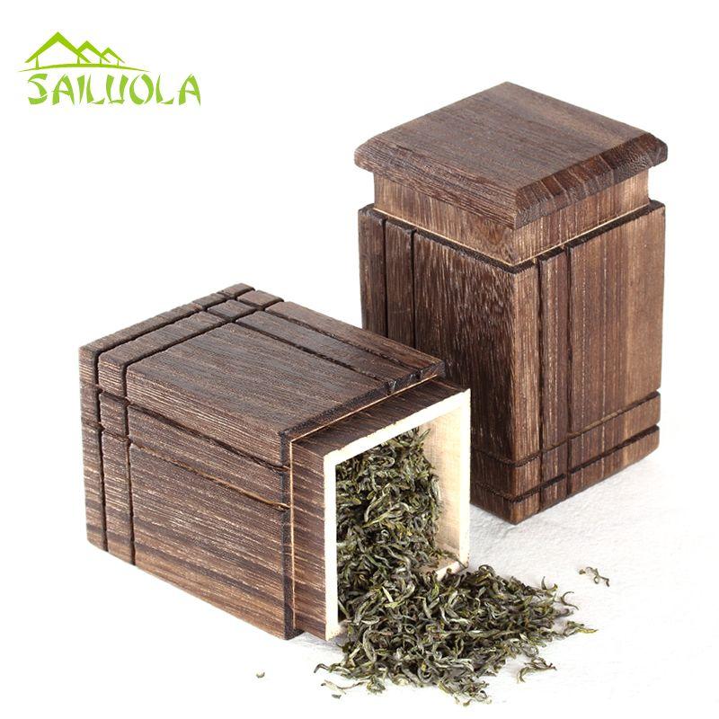 1 шт. высокое качество квадратный paulownia деревянный Чай коробка путешествия открытый Чай хранения Майки запечатанные банки