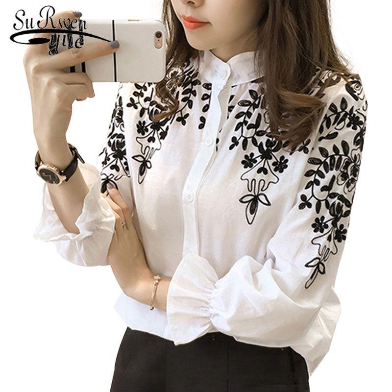 2018 Mode Femme Vêtements Broderie blouse chemisier Coton Coréenne Fleur Brodé hauts style coréen t-shirt original 529E 25