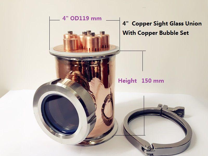 FreeShipping 4 Kupfer Anblick Glas Union Tri-Clamp T 4 x4 x3 Mit Kupfer Blase set Destillation Objektiv Spalte Für Hause Brauen