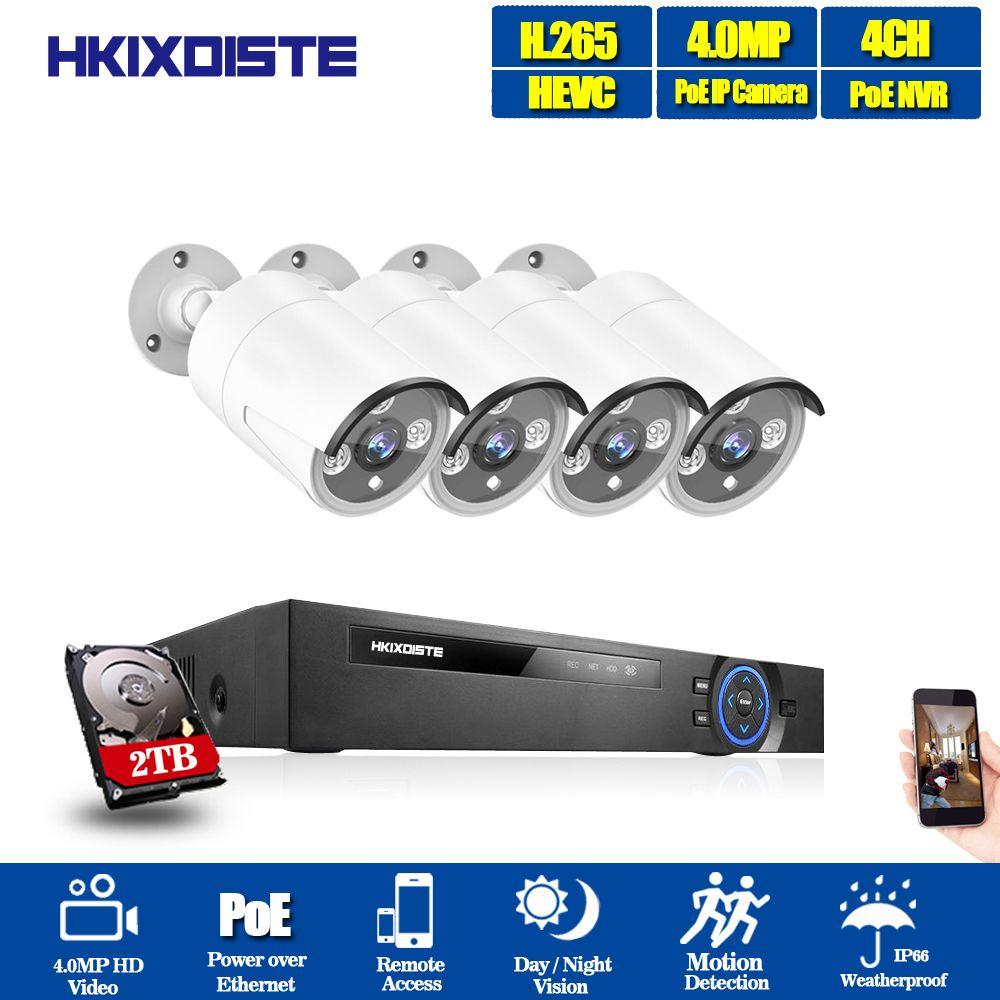 H.265 CCTV System POE NVR kit 4ch 4MP wasserdichte POE IP kamera kugel Home Security kamera system außen niedrigen lux onvif mit 2 tb