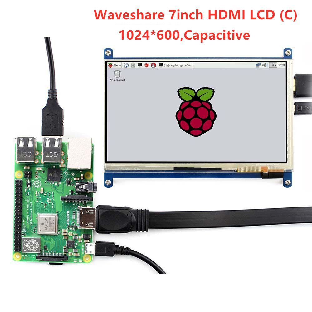 Affichage Waveshare 7 '', écran LCD HDMI 7 pouces (C), écran tactile capacitif, moniteur HDMI, prend en charge Raspberry Pi modèle 2B/3B/3B + BB noir