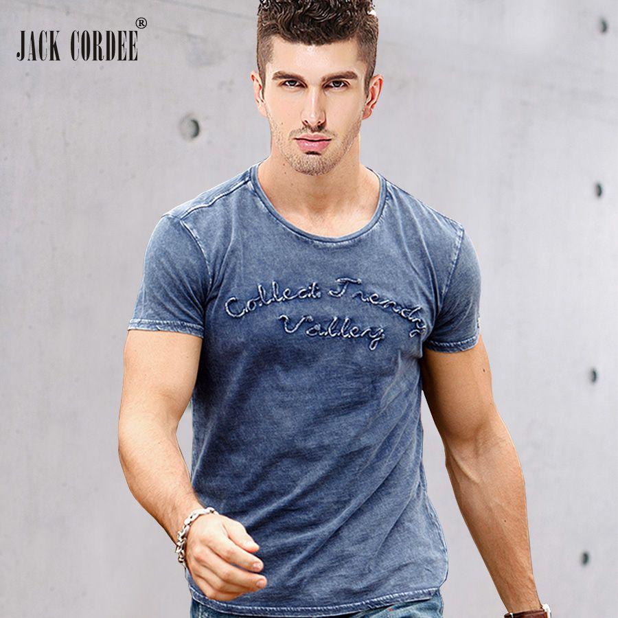 <font><b>JACK</b></font> CORDEE Fashion T shirt Men Letter Embroidered 100% Cotton Tee Shirt Slim Short Sleeve Tshirt O-Neck Tops Brand T-shirt Men