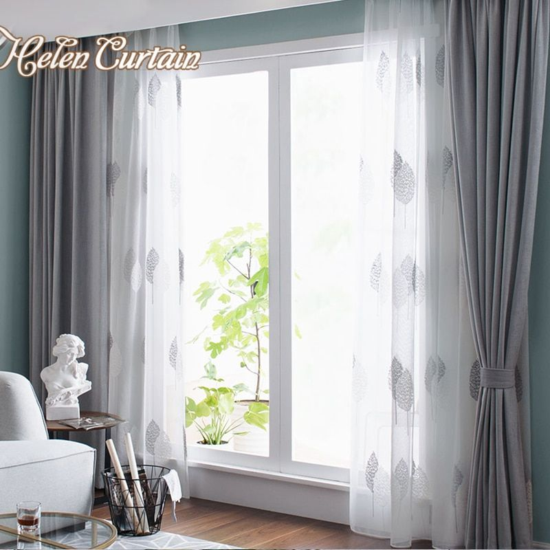 Nordic Grey Solid Curtains For Bedroom Modern Living Room Curtains White Leaves Embroider Tulle Curtains Drapes Window Treatment
