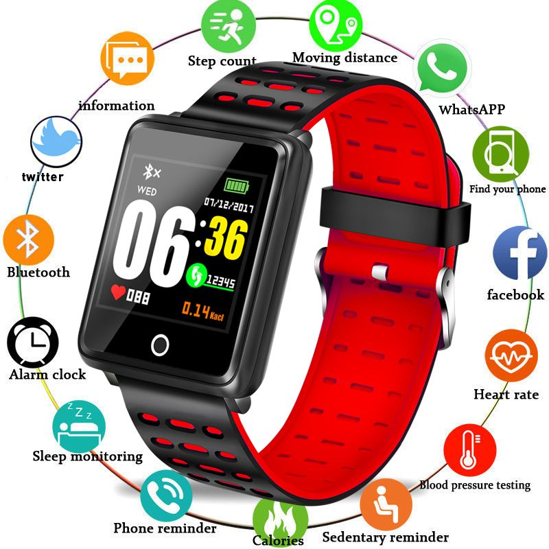BANGWI 2018New Men Women Smart Sport Watch Fitness Tracker Pedometer Blood Pressure Heart Rate Blood oxy Monitor Smart Band+Box
