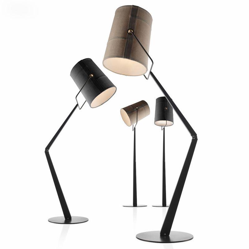 Italien Gabel Led Stehleuchte R7S Drehbare Leinen Lampenschirm Minimalismus Stehleuchte Glanz Wohnzimmer Led-beleuchtung