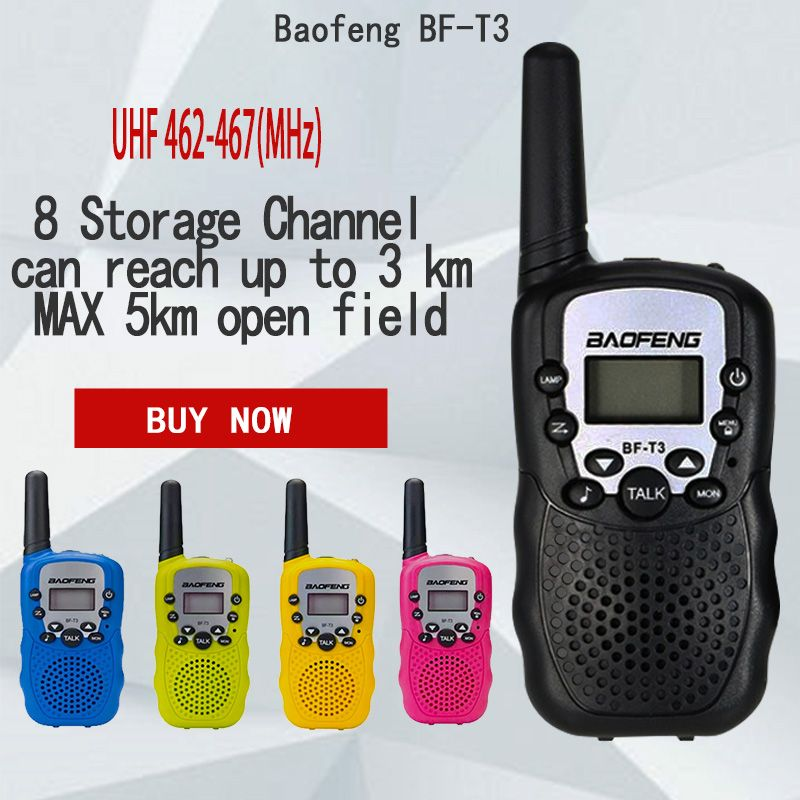 2Pcs Baofeng BF-T3 UHF462-467MHz 8 Channel Portable Two-Way 10 Call Tones Radio Transceiver for Kid Radio Walkie Talkie