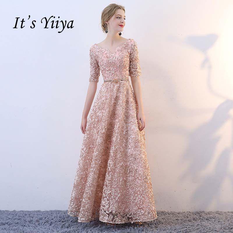 It's YiiYa V-neck Half Sleeves Flowers A-line Vintage Elegant Lace Up Party Frocks Dresses <font><b>Floor</b></font> Length Evening Dresses YS018