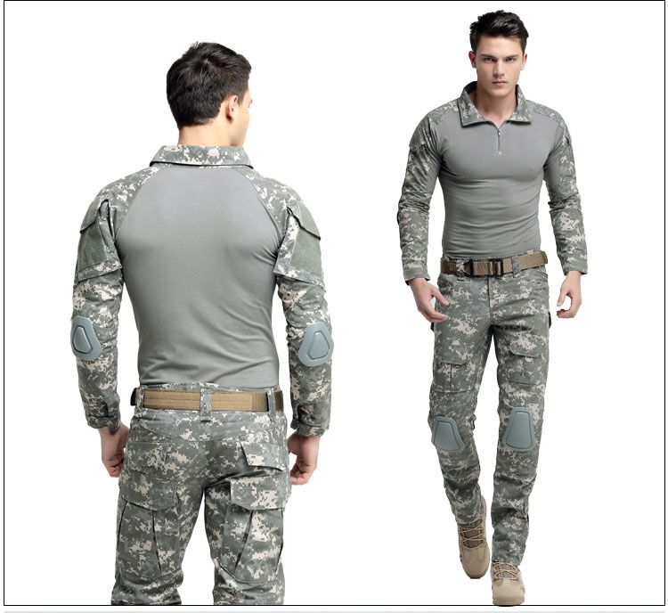 Outdoor men male Tactical camouflage Suits combat uniform Jacket top pant US training military hunting top trousers Clothing set