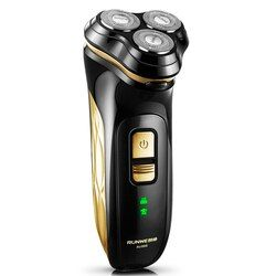 Runwe 3D Floating Head Rechargeable Electric Shaver for Menwith 3 Blade Electric Razor Barbeador Rasoir Electrique RS988