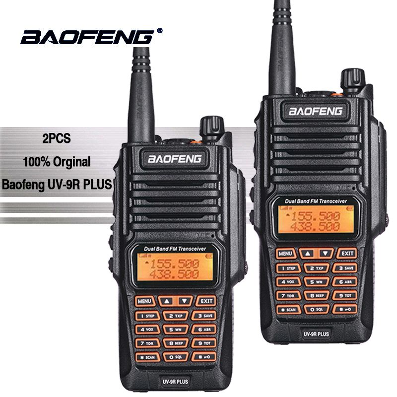2pcs Baofeng UV-9R Plus Portable Walkie Talkie Uhf Vhf IP67 Waterproof Ham Amateur Radio UV9R Woki Toki Police Equipment UV 9R