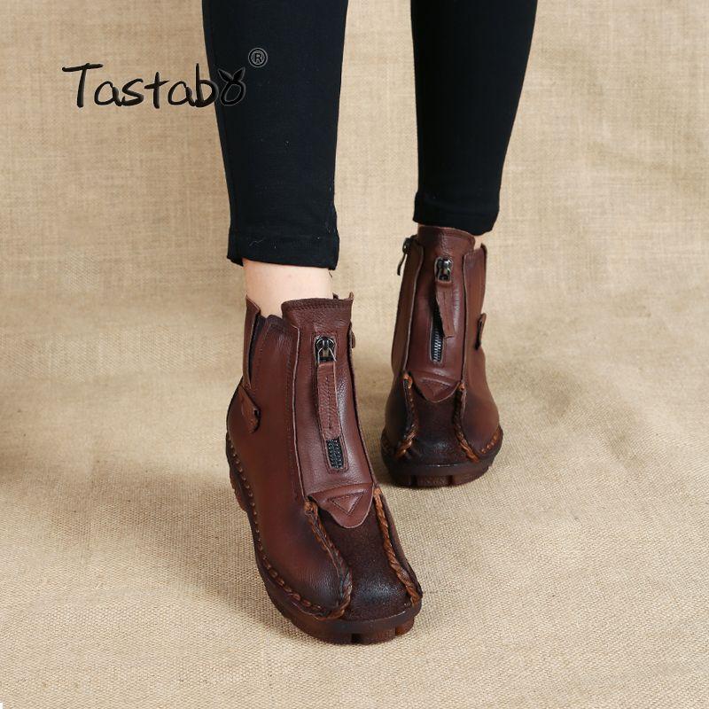 Tastabo véritable cuir bottines velours à la main dame chaussures plates douces confortables mocassins décontracté chaussures pour femmes