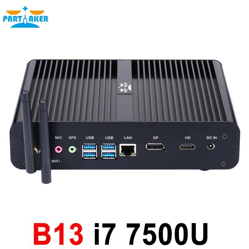 Partaker B13 Mini PC con 7th gen kaby Lake Intel Core i7 7500u winows 10 linux ubuntu sin ventilador Barebone Mini PC 4 K ordenador htpc