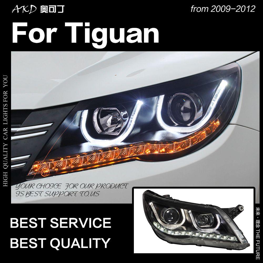 AKD Auto Styling für Volkswagen Tiguan LED Scheinwerfer 2009-2012 led DRL Kopf Lampe Engel Auge Hid Option bi Xenon Auto Zubehör