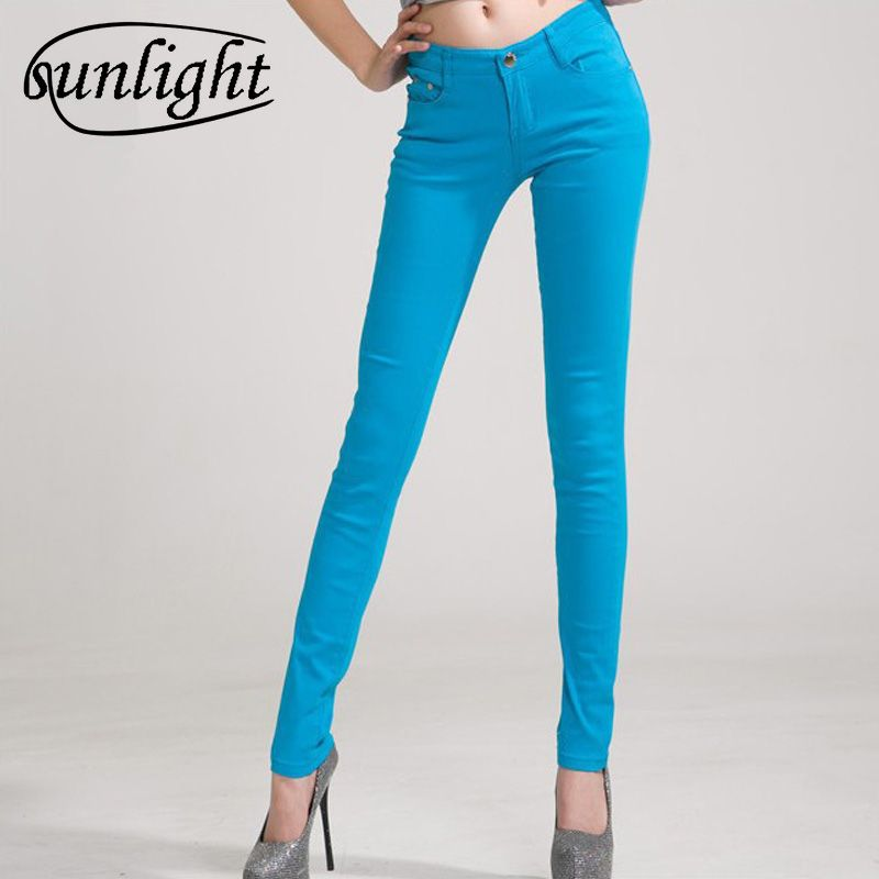 sunlight 2018 new fashion lady candy colored casual trousers / Ms. stovepipe pencil ankle-length jeans / women jeans Size 26-34