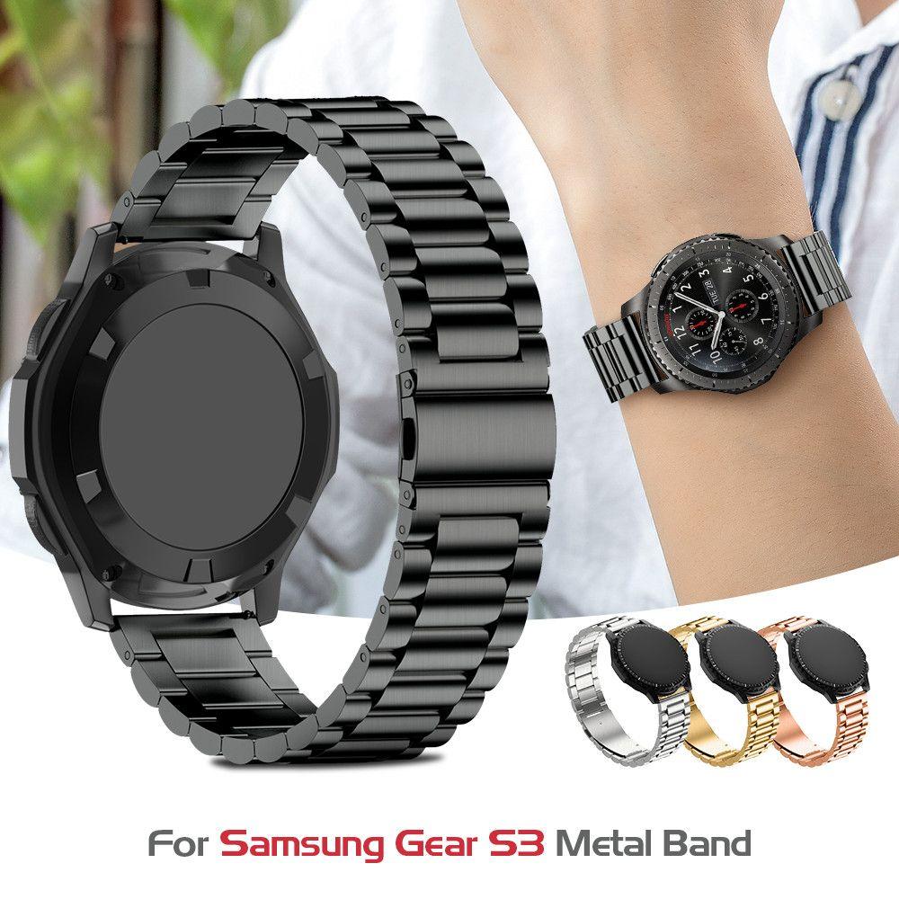 Bracelet de montre en acier inoxydable pour Samsung gear S3 bracelet en métal classique pour Gear S3 montre intelligente 3 liens bracelet de montre avec outil de réglage